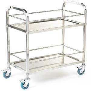 304 grade Stainless Steel Shelf Trolleys / Carts 100kg capacity