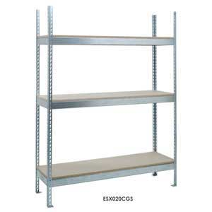 H/D Galvanised Shelving with 3 Chipboard Shelves
