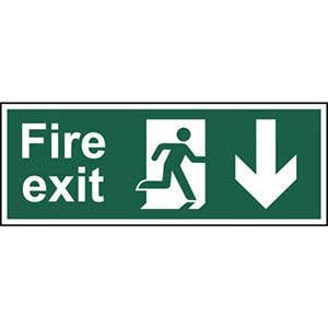 BS Fire Exit Arrow Down Sign