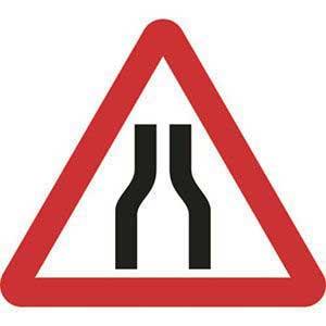 Road Narrows Both Lanes Sign
