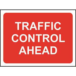 Traffic Control Ahead Road Sign