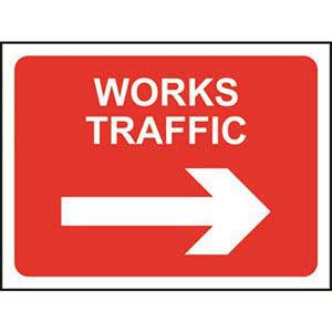 Works Traffic Right Road Sign