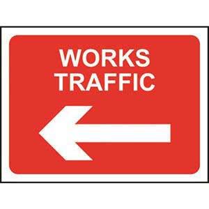 Works Traffic Left Road Sign