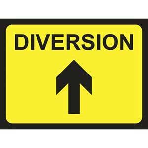 Diversion Road Sign Arrow Up