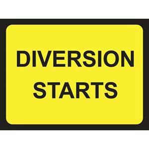 Diversion Starts Road Sign