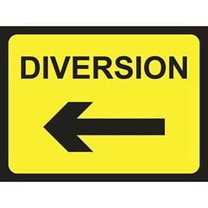 Diversion Road Sign Arrow Left