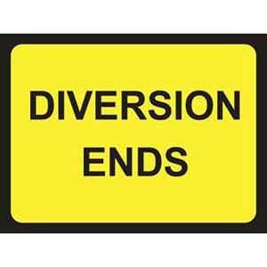Diversion Ends Road Sign