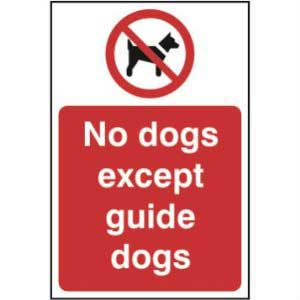 No Dogs Except Guide Dogs Sign Request a call back
