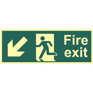 Fire Exit Arrow Down Left Photoluminescent Sign