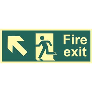 Fire Exit Arrow Up Left Photoluminescent Sign