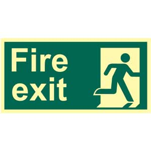 Final Fire Exit Right Photoluminescent Sign