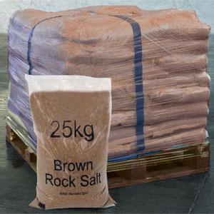 Bulk Pallets of Dry Brown Rock Salt Bags