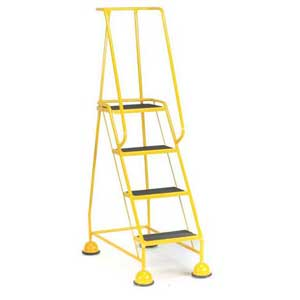 4 Ribbed Rubber Tread Glide-along Mobile Steps With Handrails