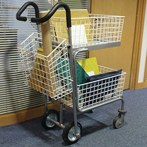 Mailroom Messenger Trolley with 3 Baskets
