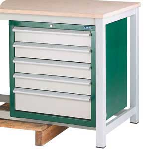 H/D Workbench 5 drawer Lockable Cabinet