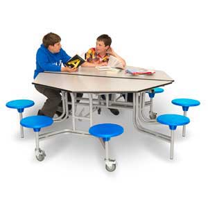 8 Seat Octagonal Mobile Folding Table Units