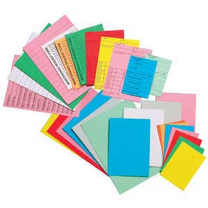 Spare cards for card racks/year planners