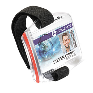 Security badge pass, adjustable arm strap, weather proof