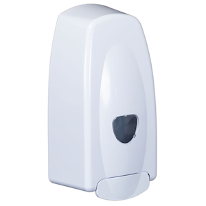 Wall mounted soap and hand gel dispenser.