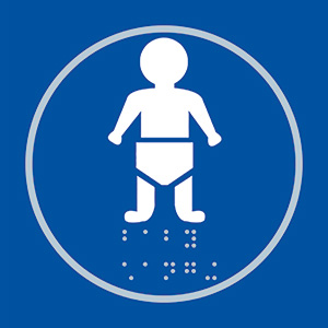 Baby Changing Blue Braille Sign with FAST UK Delivery