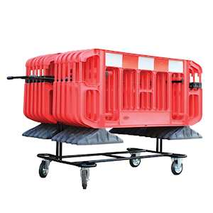 Trolley for crowd control barriers