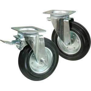Light duty black rubber tyred castors