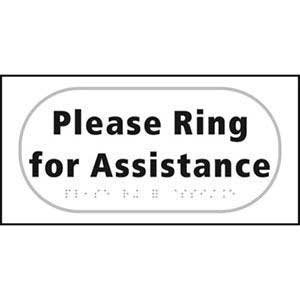 Braille Please Ring For Assistance Sign
