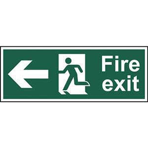 BS Fire Exit Arrow Left Sign