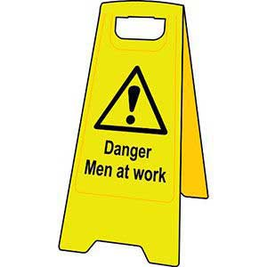Danger Men at Work Floor Stand Sign