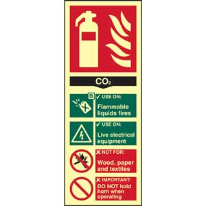 CO2 Fire Extinguisher Photoluminescent Sign