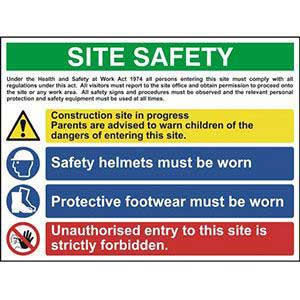 Construction Site Safety Sign With 1 Warning, 2 Mandatory & 1 Prohibition Procedures