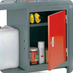 Lockable steel cupboard for fully welded workbench