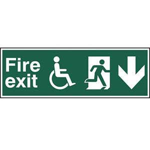 Disabled Fire Exit Running Man Arrow Down Sign