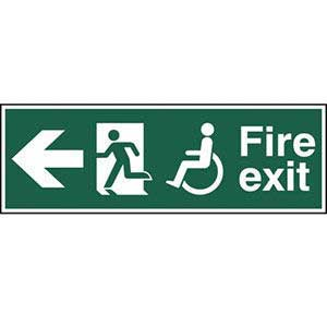 Disabled Fire Exit Running Man Arrow Left Sign