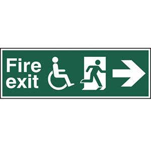 Disabled Fire Exit Running Man Arrow Right Sign