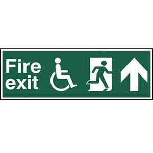 Disabled Fire Exit Running Man Arrow Up Sign