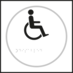 Disabled Toilet White Braille Sign with FAST UK Delivery