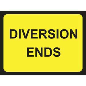 Diversion Ends Road Sign
