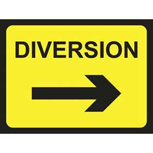 Diversion Right Road Sign