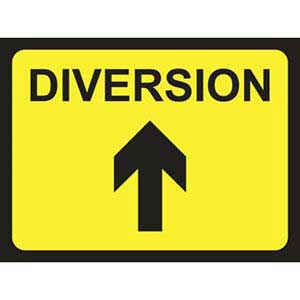 Diversion Road Sign Arrow Up