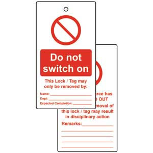 Do Not Switch On Lockout Tags (Pack of 10)