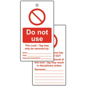 Do Not Use Lockout Tags (Pack of 10)