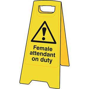 Female Attendant on Duty Floor Stand Sign