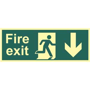 Fire Exit Arrow Down Photoluminescent Sign
