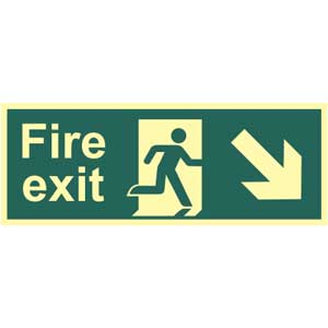 Fire Exit Arrow Down Right Photoluminescent Sign