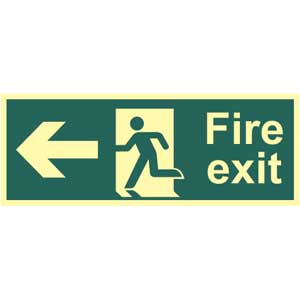 Fire Exit Arrow Left Photoluminescent Sign
