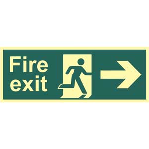 Fire Exit Arrow Right Photoluminescent Sign