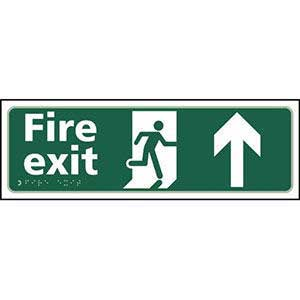 Fire Exit Arrow Up Braille Sign