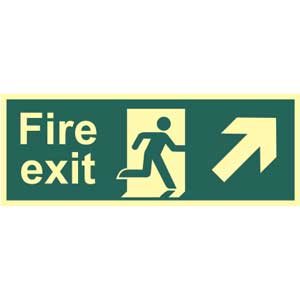Fire Exit Arrow Up Right Photoluminescent Sign
