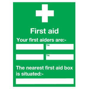 First Aid Your First Aiders Are... Sign